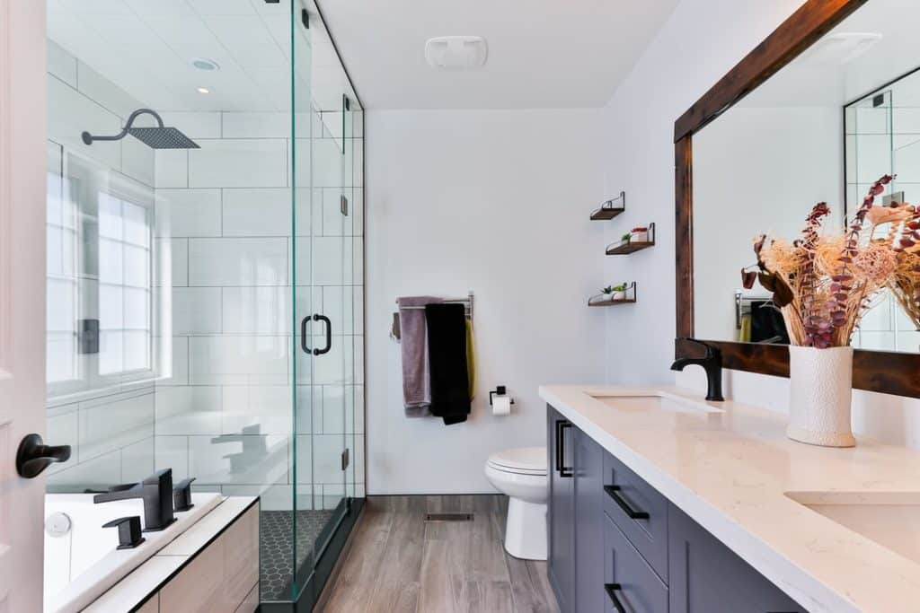modern bathroom with a white color palette