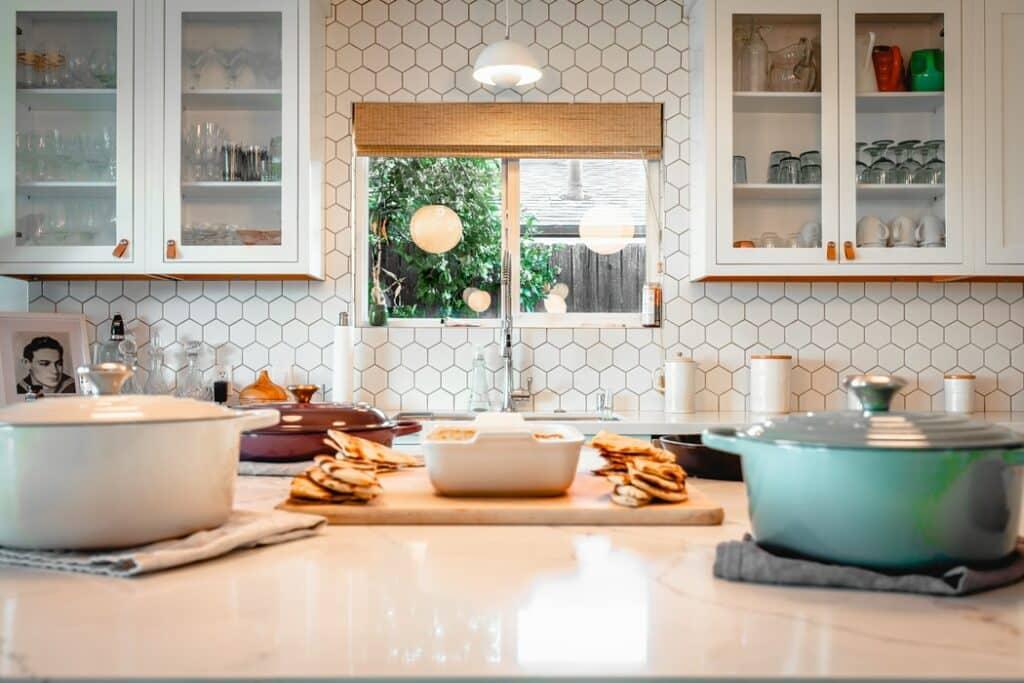 Kitchen with a DIY backsplash