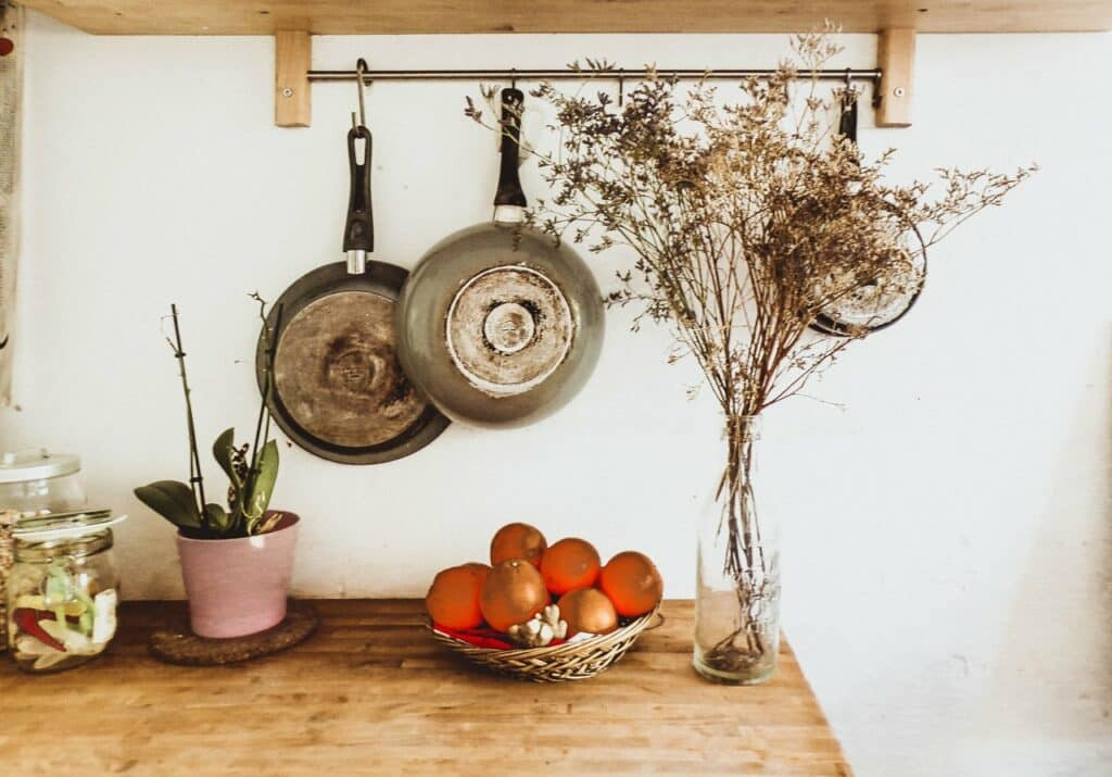 pots hanging in a kitchen