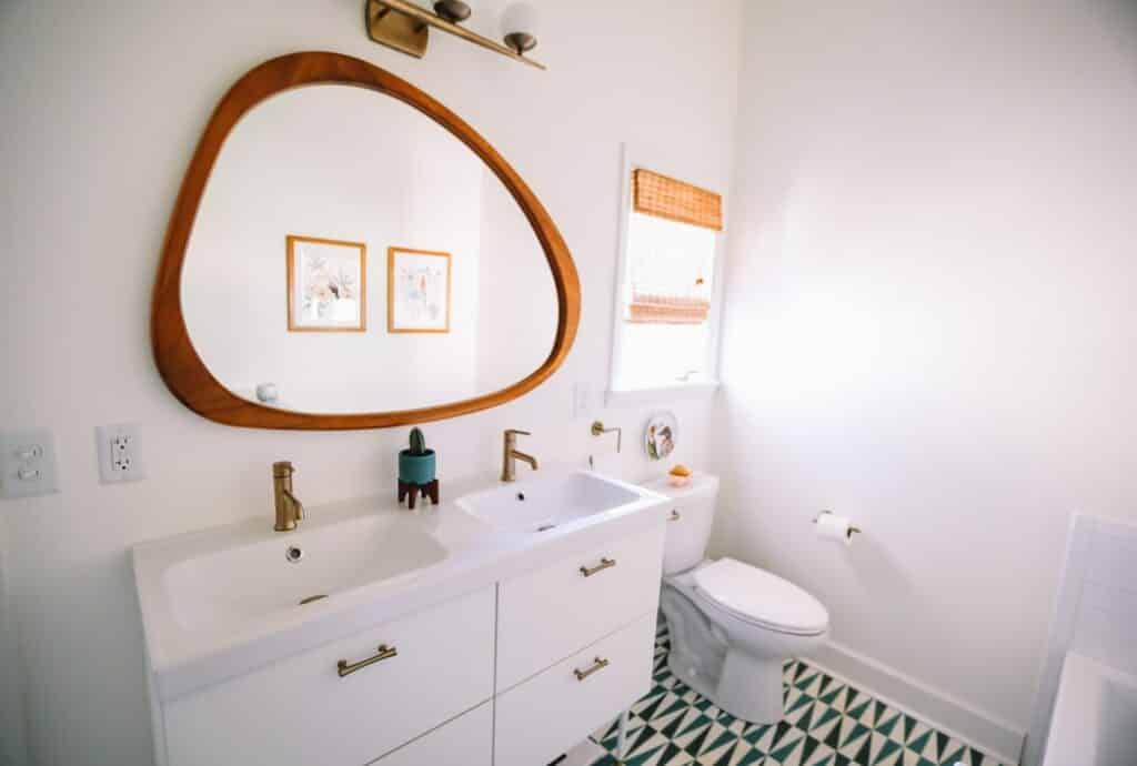 Mirror in a small bathroom