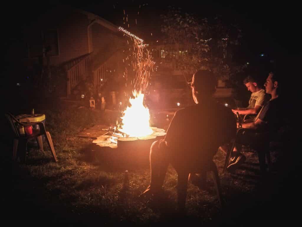 fireplace in a backyard