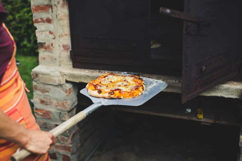 Outdoor oven in backyard