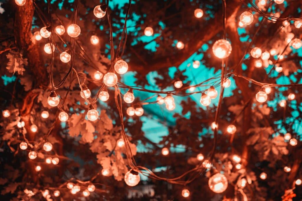 fairy lights budget small backyard ideas
