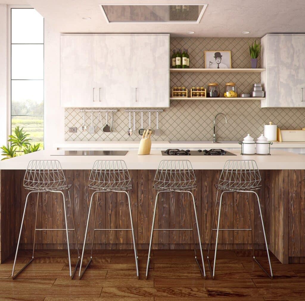 Laminate backsplash in a kitchen