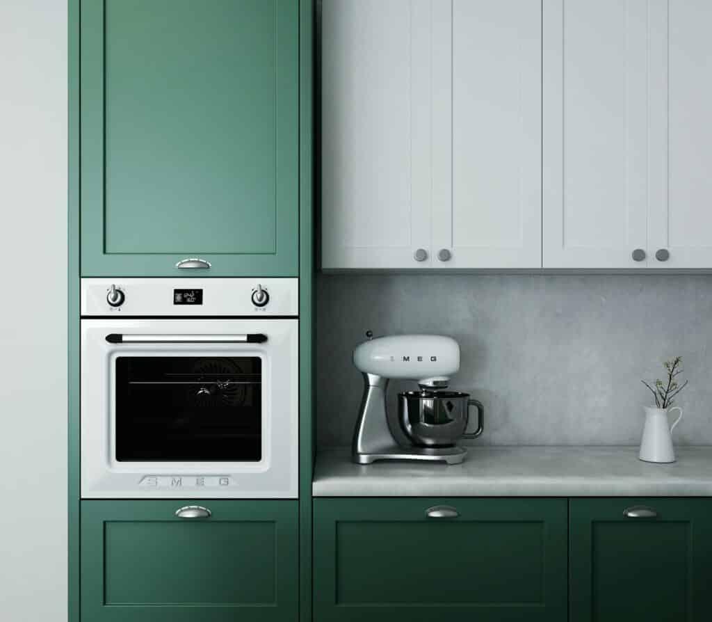 built-in kitchen appliance storage