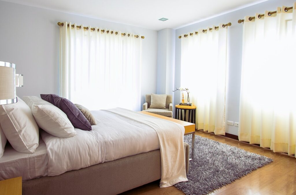 bedroom curtain and rugs