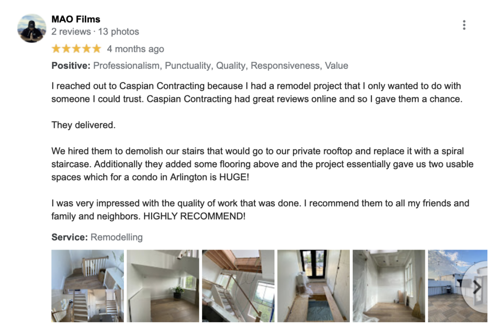 caspian contracting top remodeling companies Chantilly