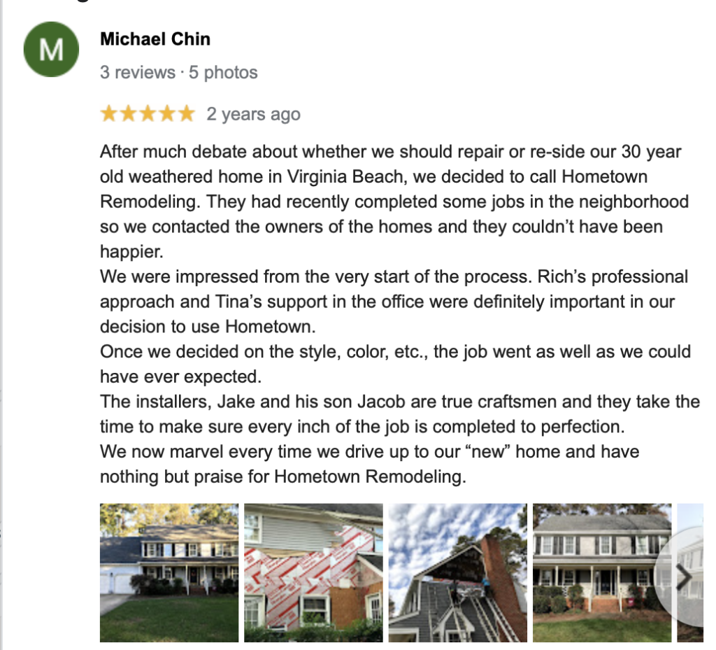 Hometown Remodeling Virginia Beach review